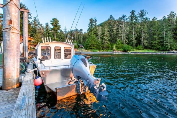 Docked fishing boat.