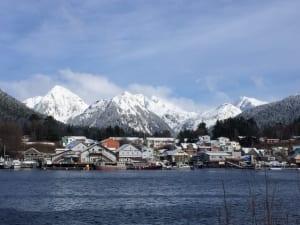 A wide angle shot of Sitka, Alaska.